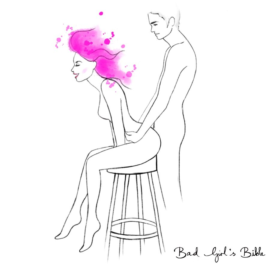 high chair sex position demonstration with woman sitting on a stool and man penetrating her from behind while standing