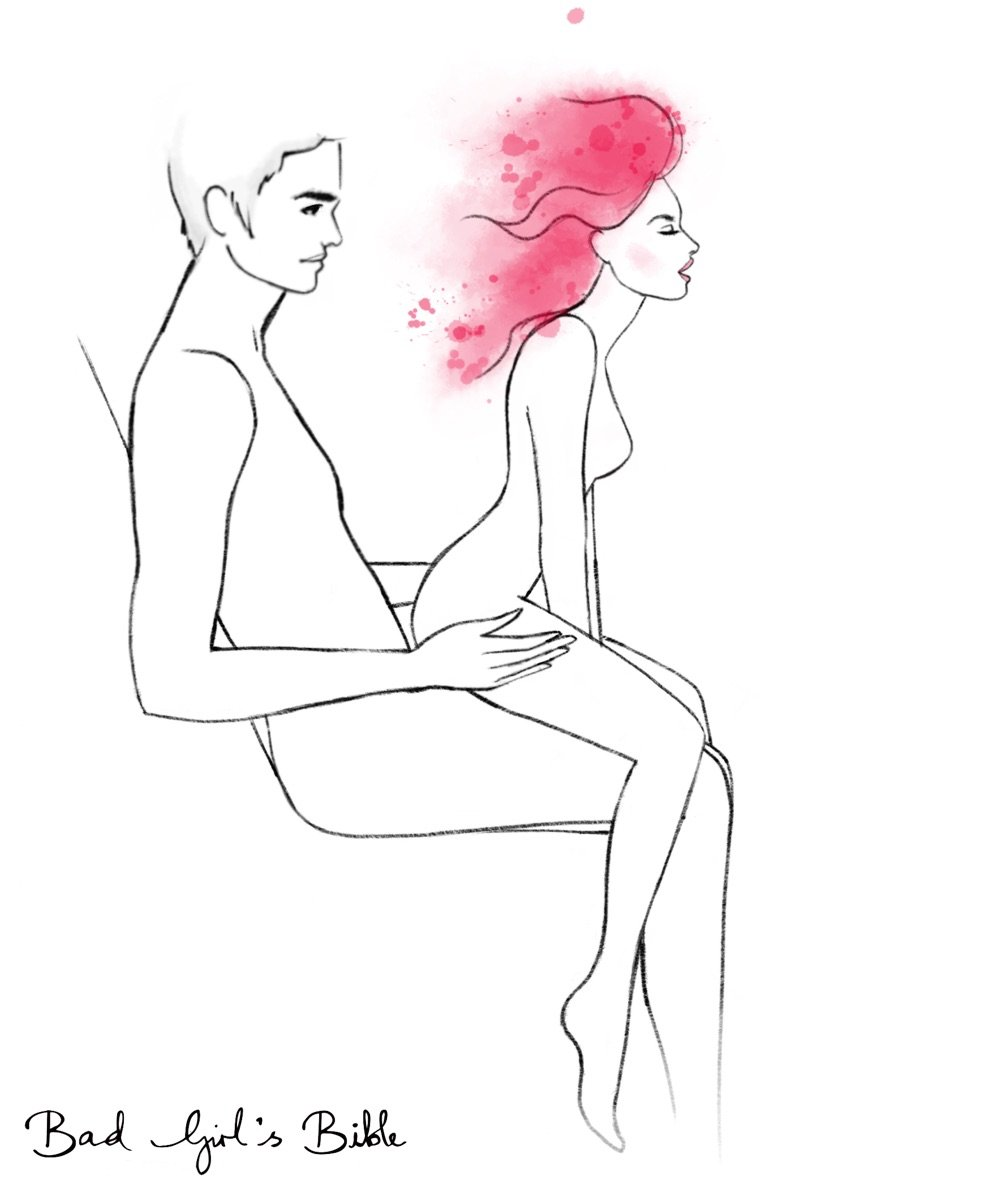 lap dance sex position illustration of man sitting down while woman sits back onto him with her legs outside his legs
