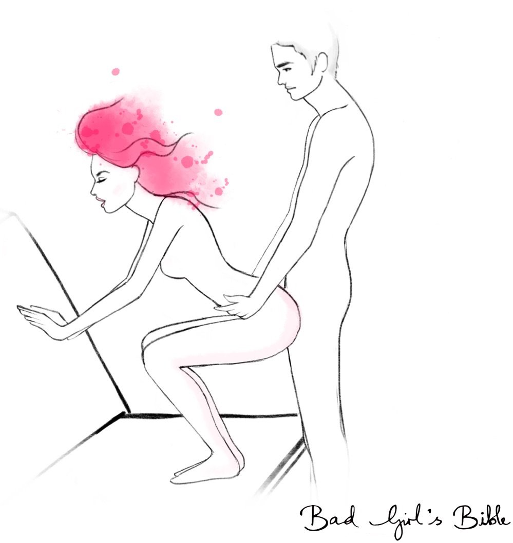 pump sex position illustration of woman half squatting and man penetrating her from behind