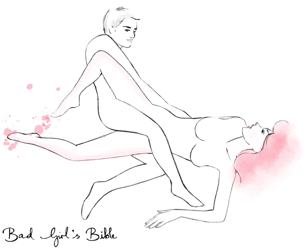scissors sex position illustration of man and woman