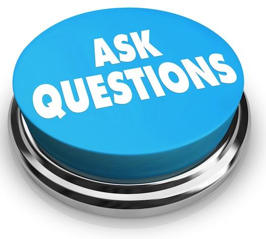ask questions blue button