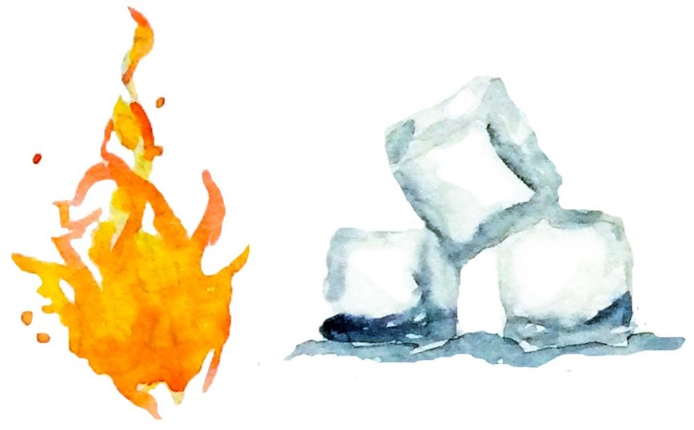 fire-ice-cubes-watercolor-illustration