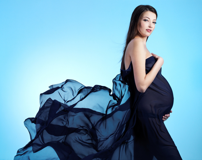Young beautiful sexy and stylish pregnant woman
