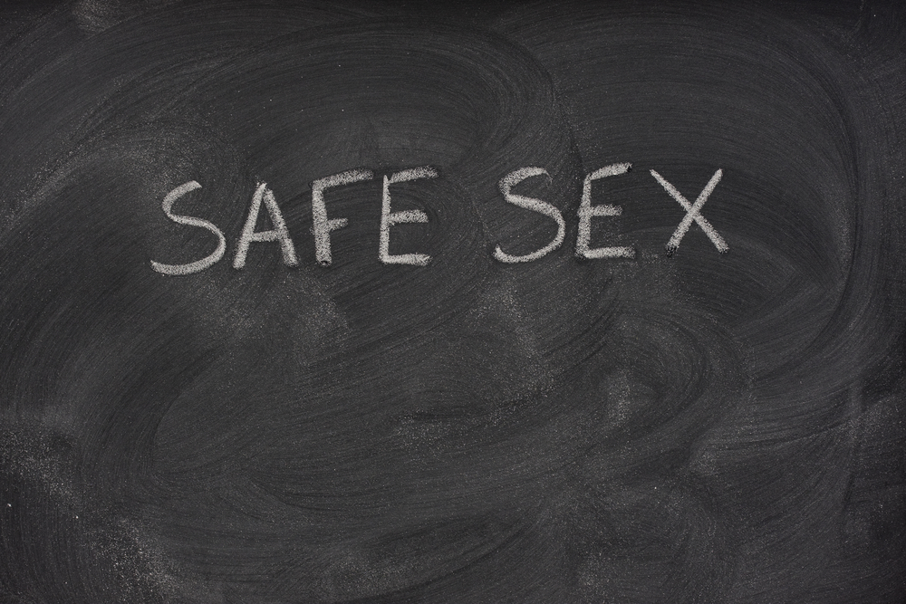 safe sex title on a school blackboard