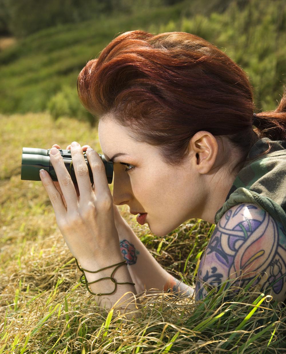 Woman spying.