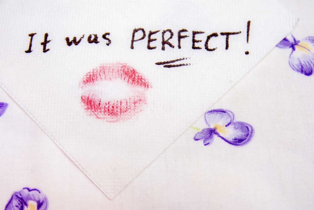 "Note on napkin ""It was PERFECT!"""