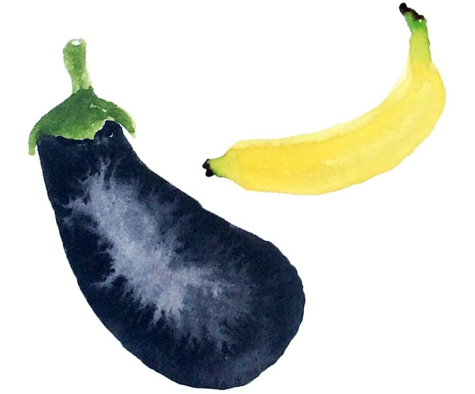 banana eggplant watercolor illustration