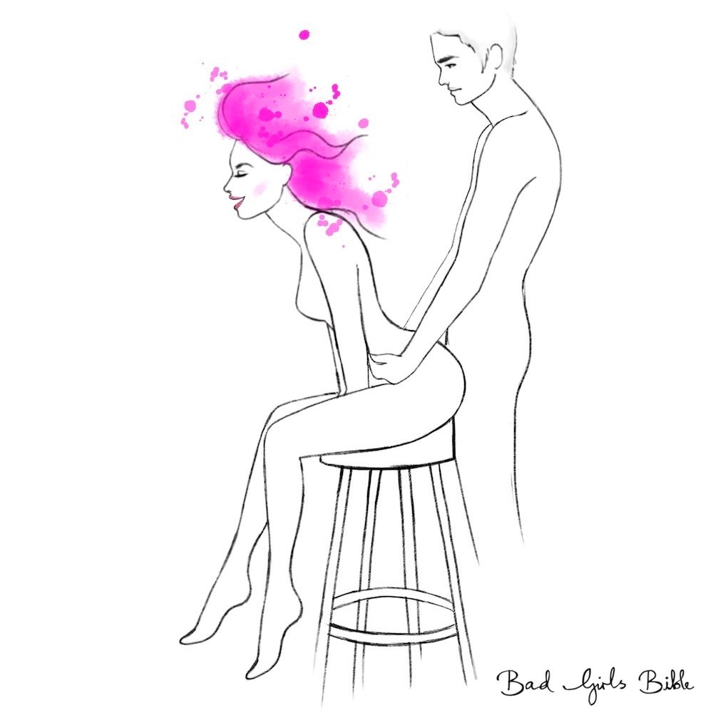 You can still enjoy seated sex, even if the only seat you have is a bar stool