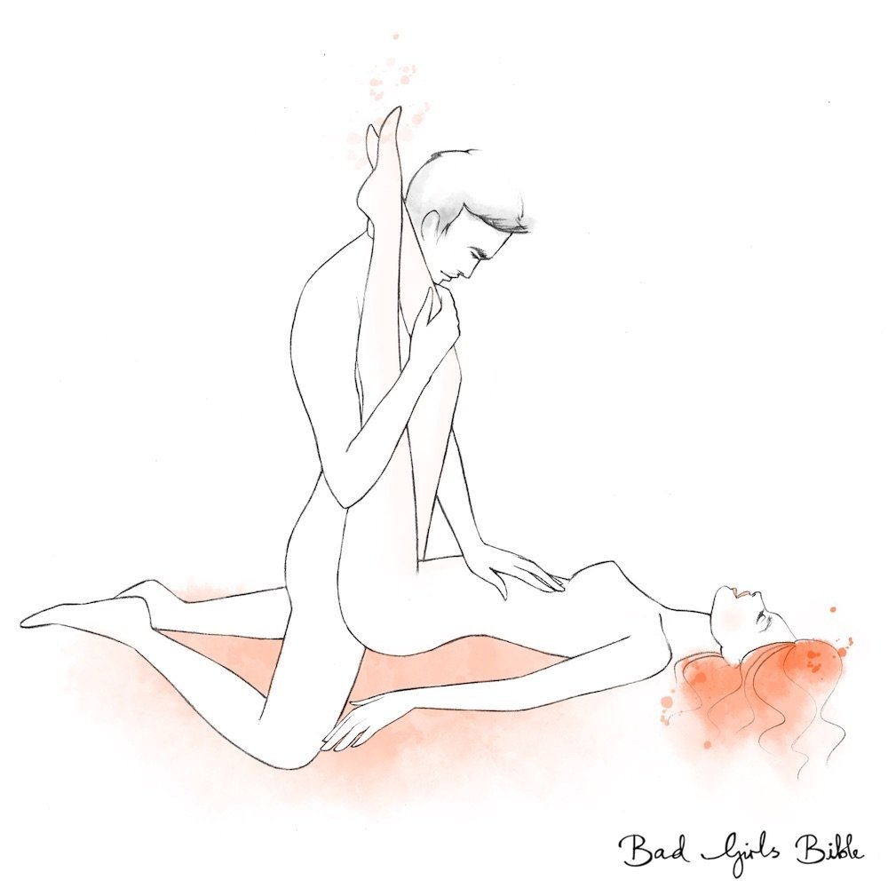 Legs over shoulders sex position