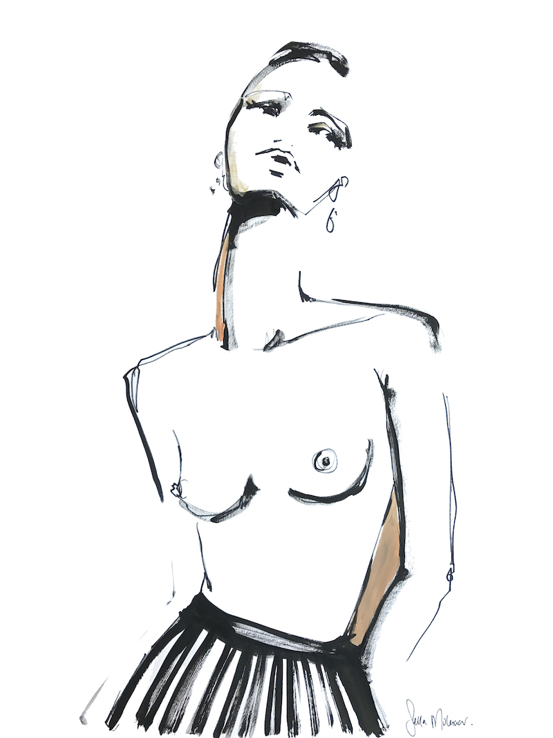 Short-hair nude model