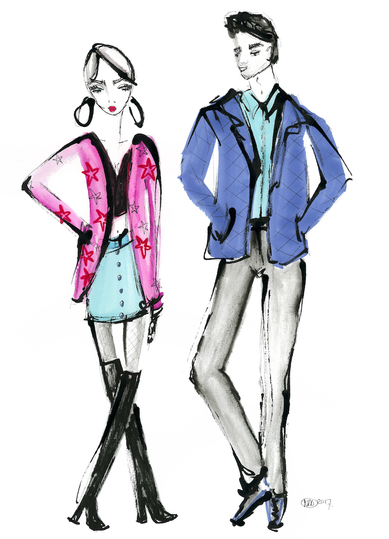 Cross-legged, standing woman with large earrings beside man in blue jacket