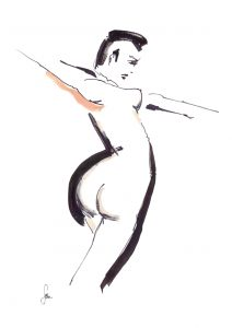 woman with large, round bum and arms outstretched