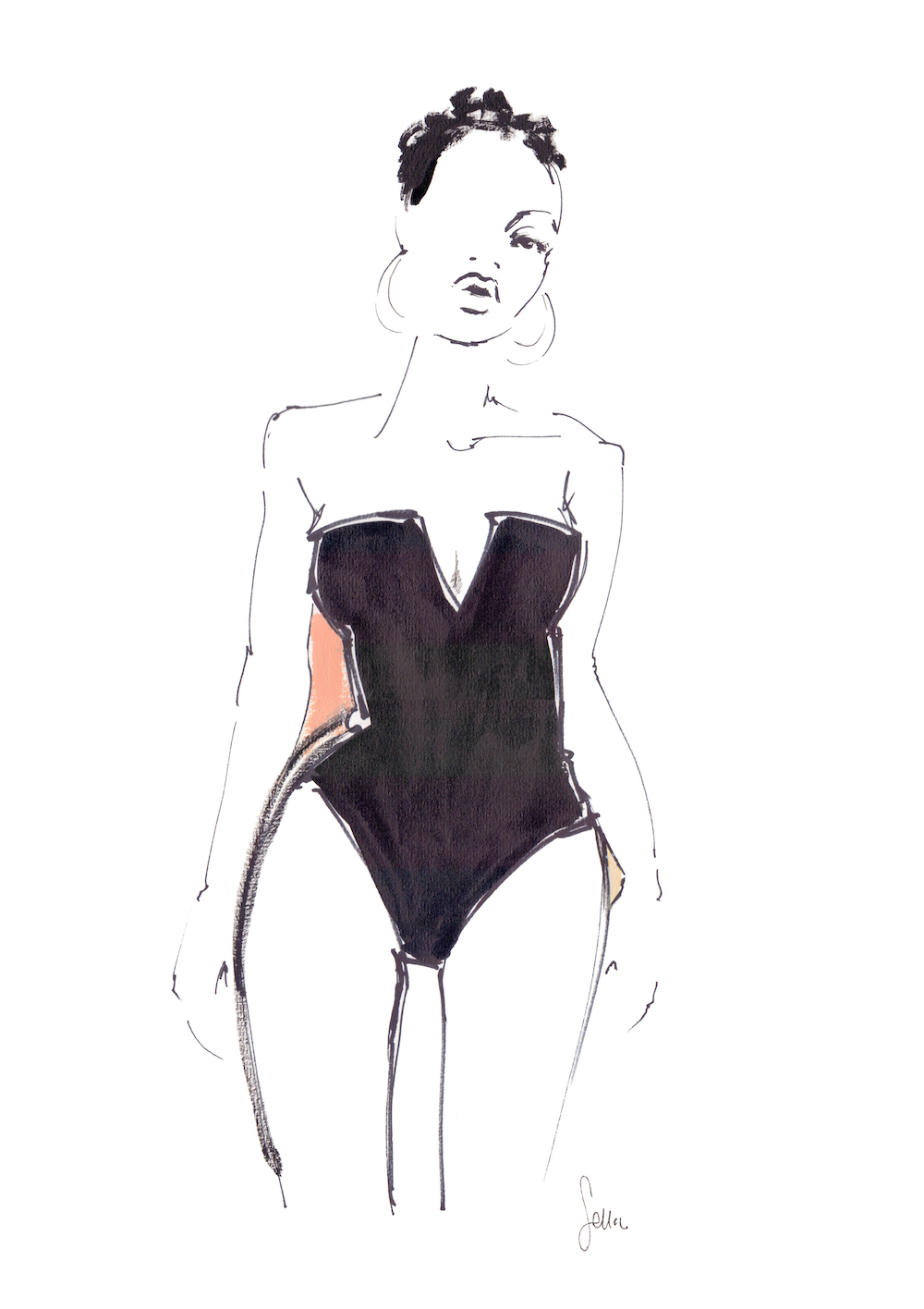 short haired woman in one piece, strapless swimsuit and large hoop earrings