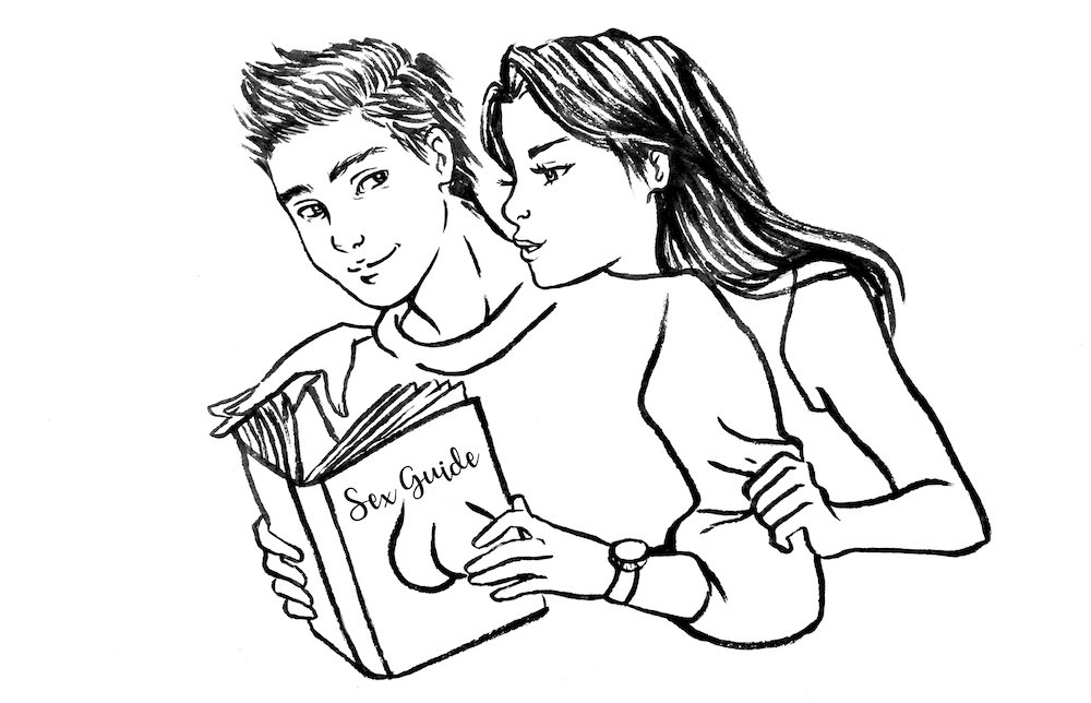 woman and man reading a sex tips book