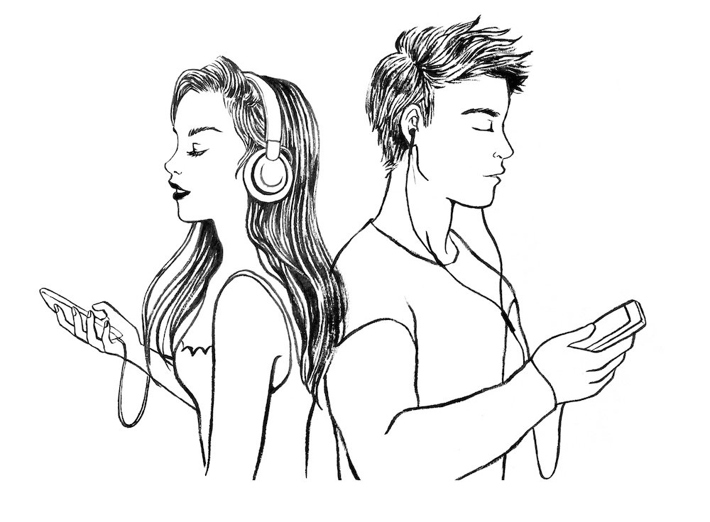 man with ear buds with his back to woman with headphones
