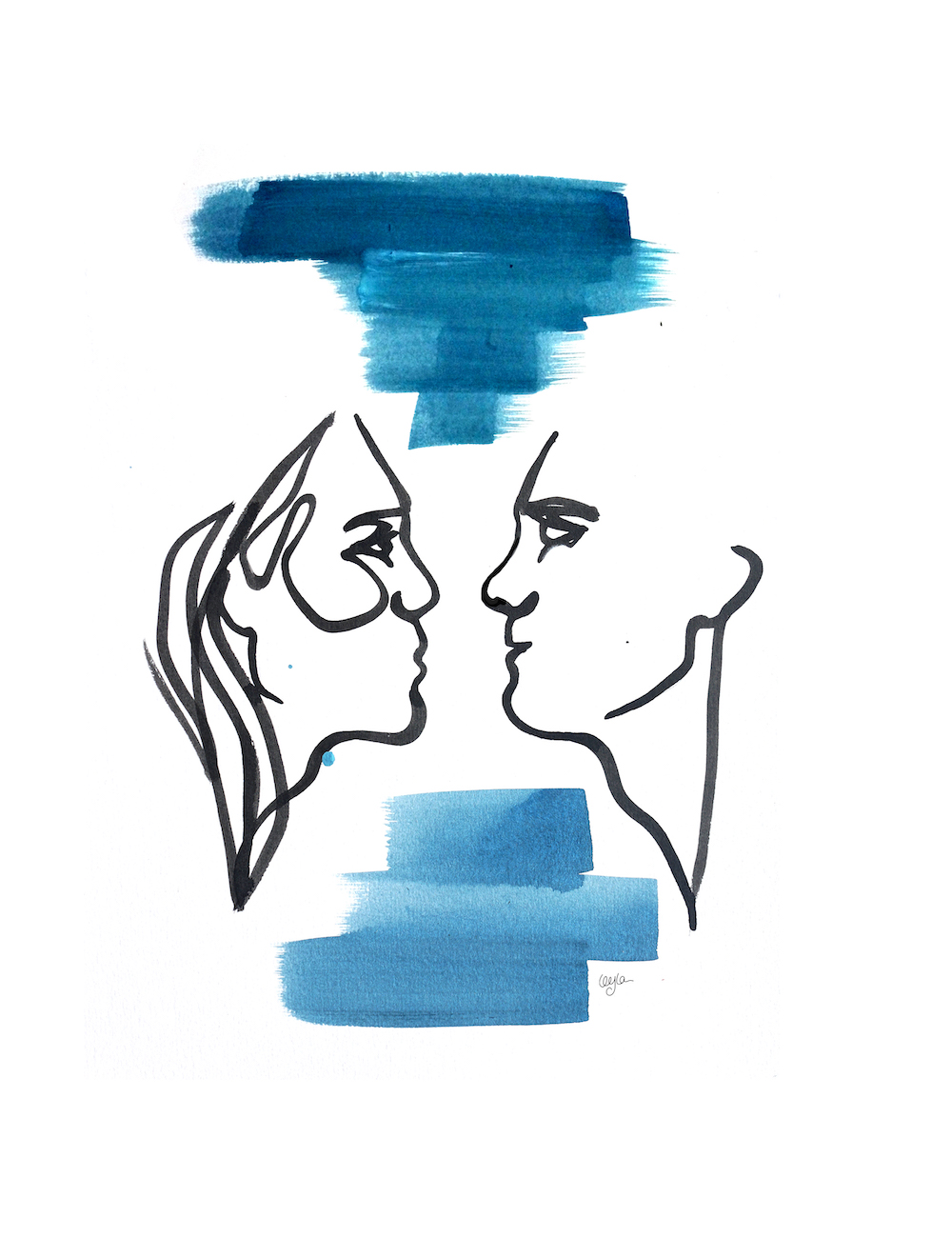 illustration of man and woman making eye contact