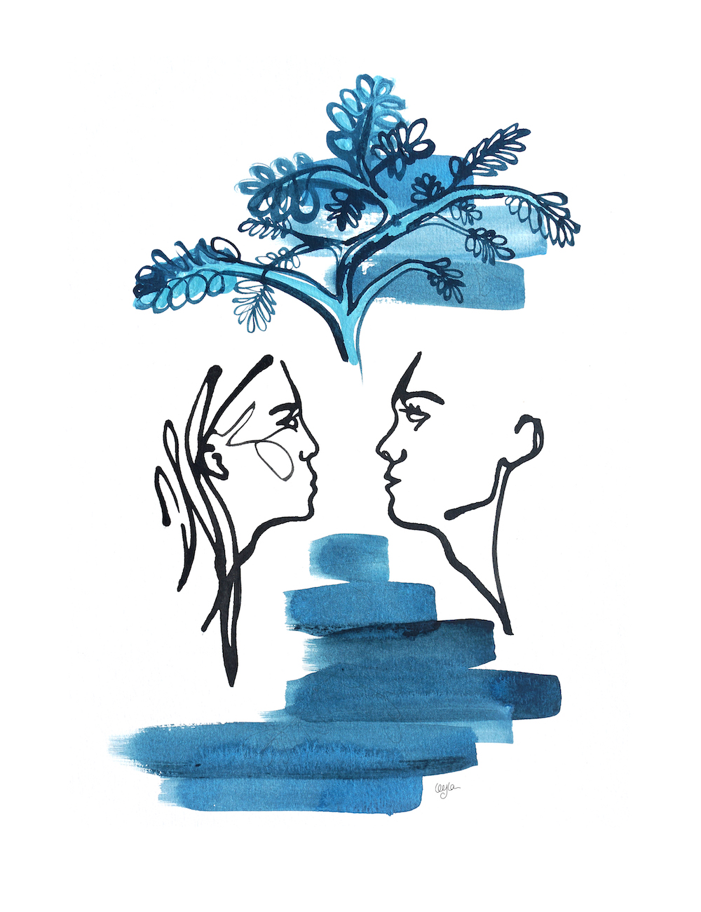 illustration of woman and man making eye contact