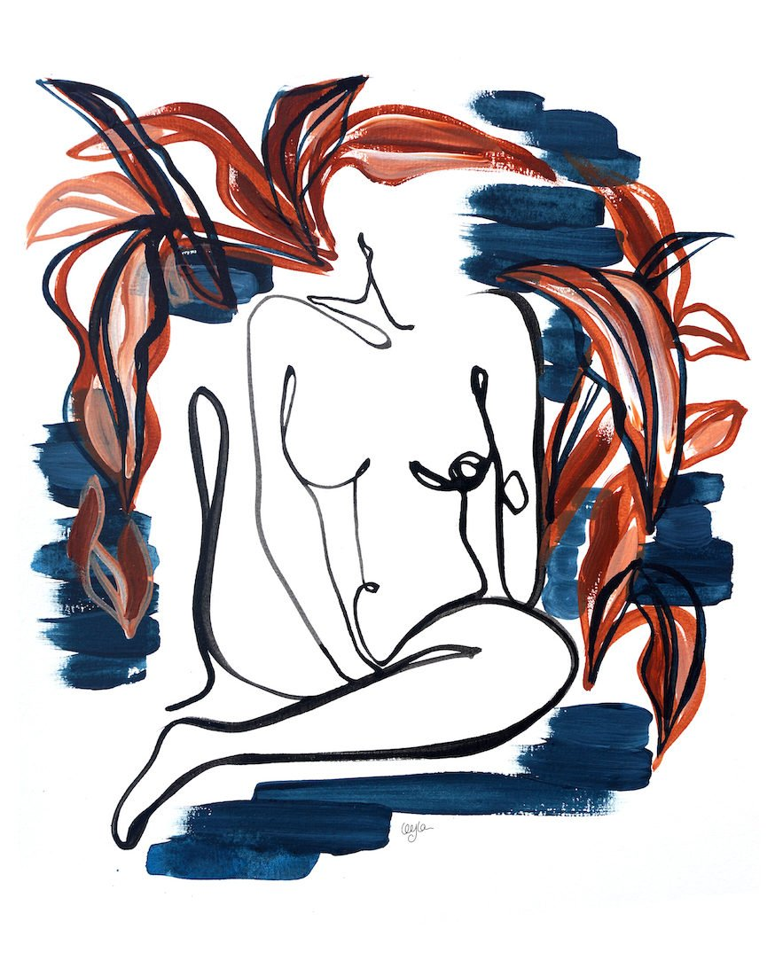 illustration of woman sitting down while masturbating with her right hand