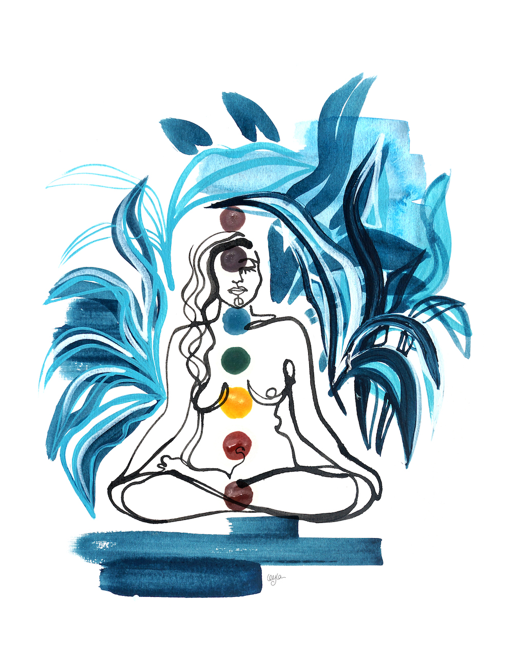 illustration of a woman with 7 dots representing the 7 chakras