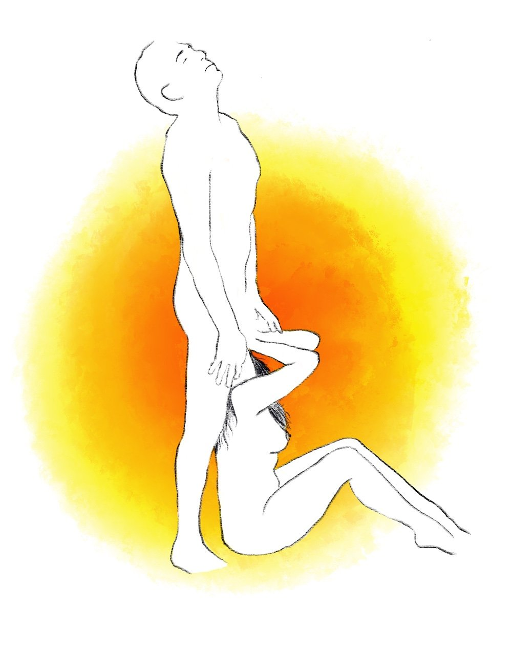 illustration of woman sitting and man standing above her