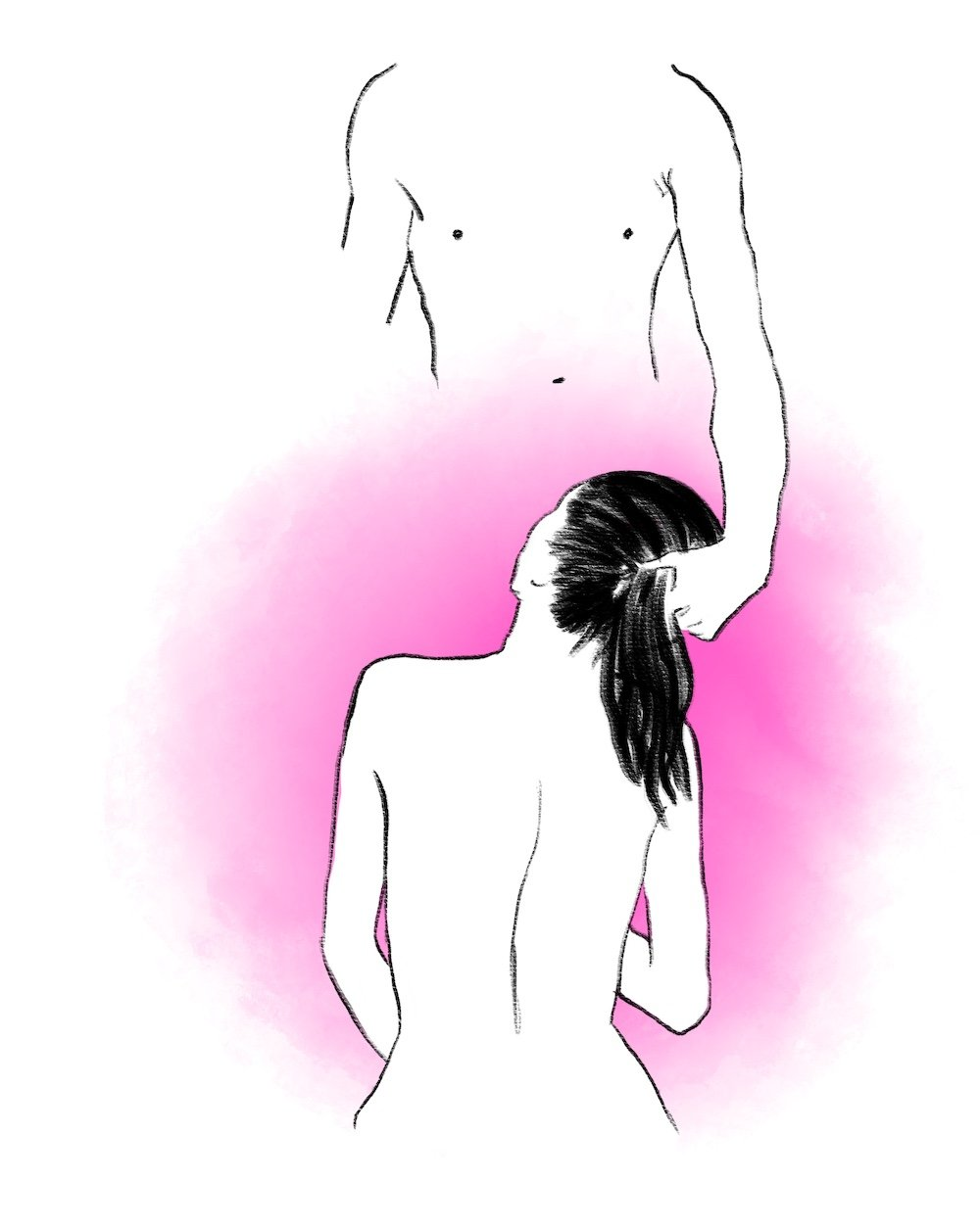illustration of man holding woman's hair
